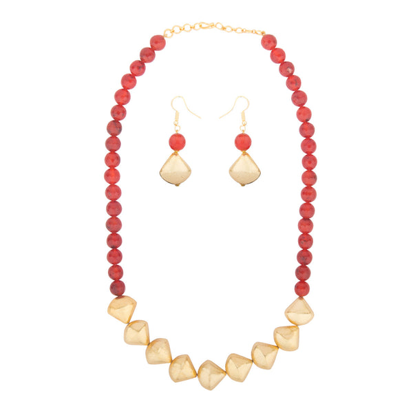 Red and Gold Ethnic Necklace Set