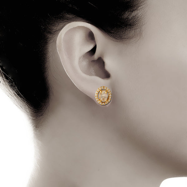Stunning Crystal Ovate Stud Earrings