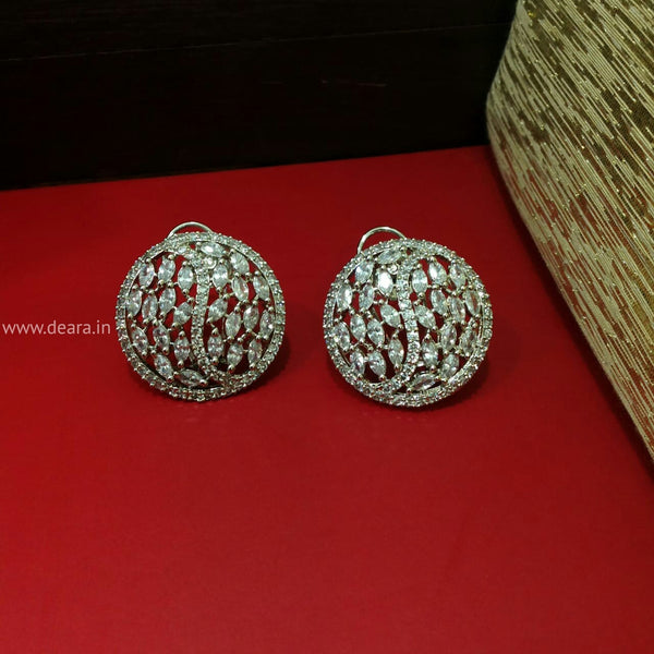 Charismatic Circular Crystal Stud Earrings