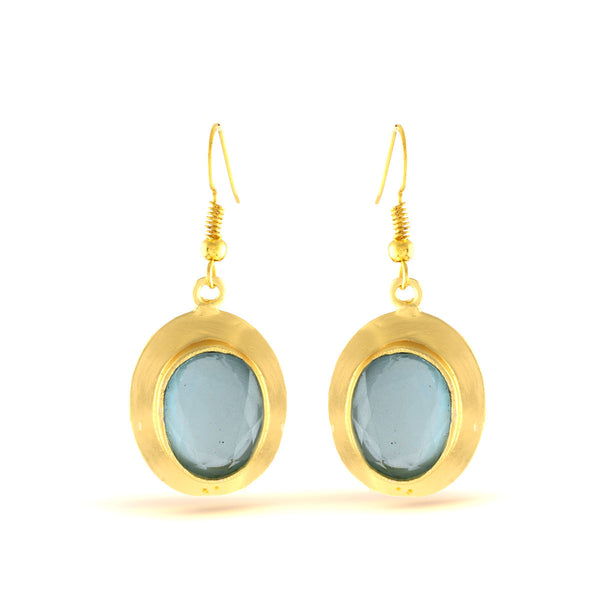 Carolina Blue Gold Gemstone Dangler Earrings