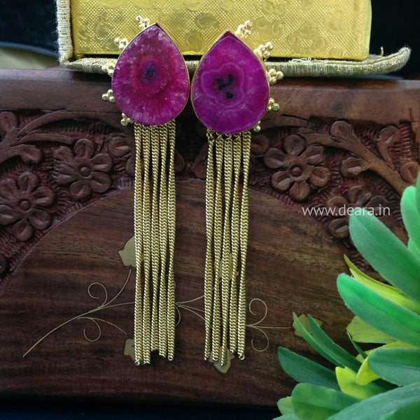 Magenta Waterfall Long Earrings
