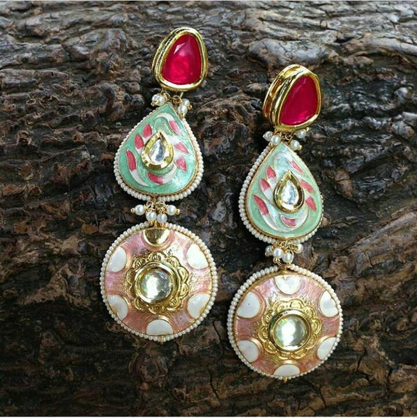 Heavenly Ruby Red and Green Enamel Long Earrings