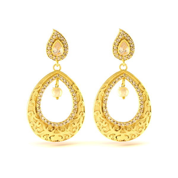 Elegant Pearl beaded Gold Dangler Chandbali Earrings
