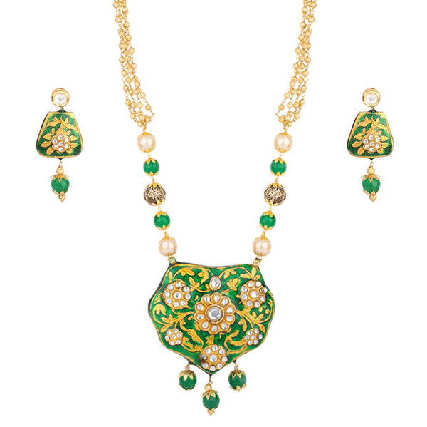 Green and Gold Ethnic Beauty Necklace Set