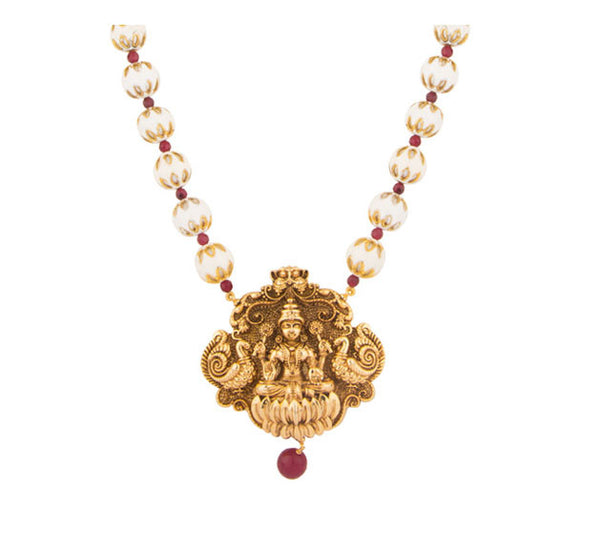 White Meena Goddess Pendant Necklace