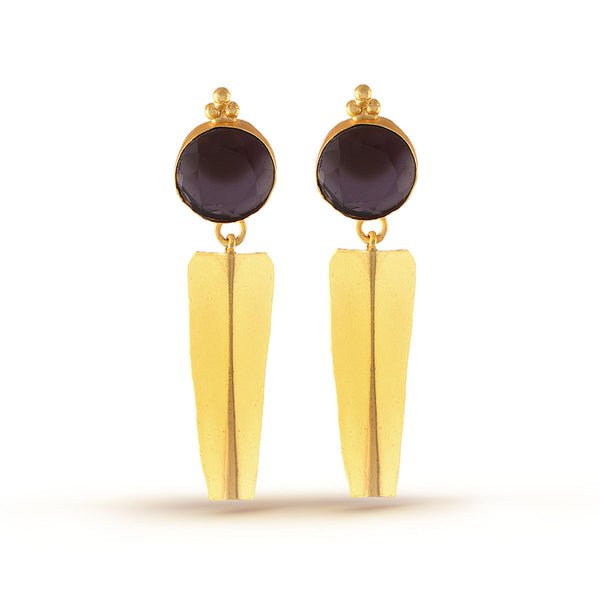 Eggplant Purple Gemstone Gold Dangler Earrings