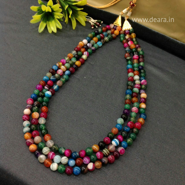 Three Stranded Multi-Coloured Gemstones Necklace