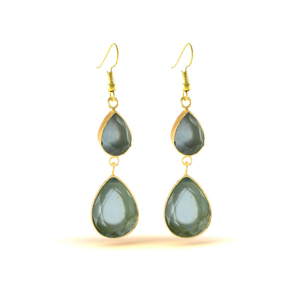 Steel Blue Gold Drop Earrings