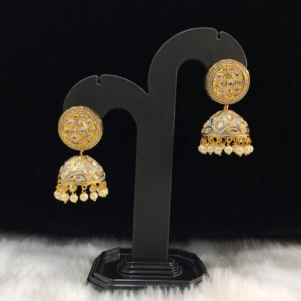 Pewter Grey Enamel Kundan and Pearls Earrings