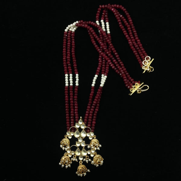 Lustrous Ruby Red & White Kundan Necklace