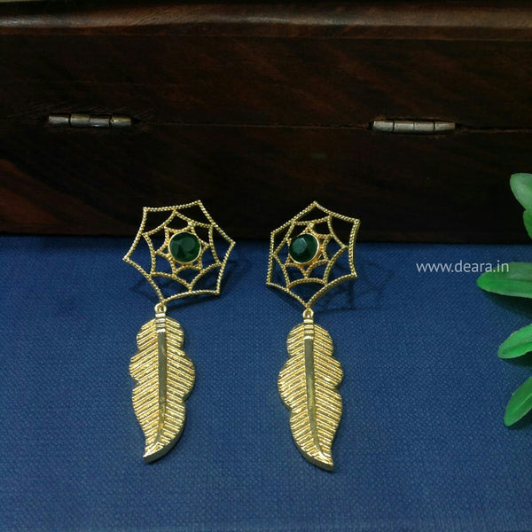 Leaf and Flower Gold and Green Long Earrings