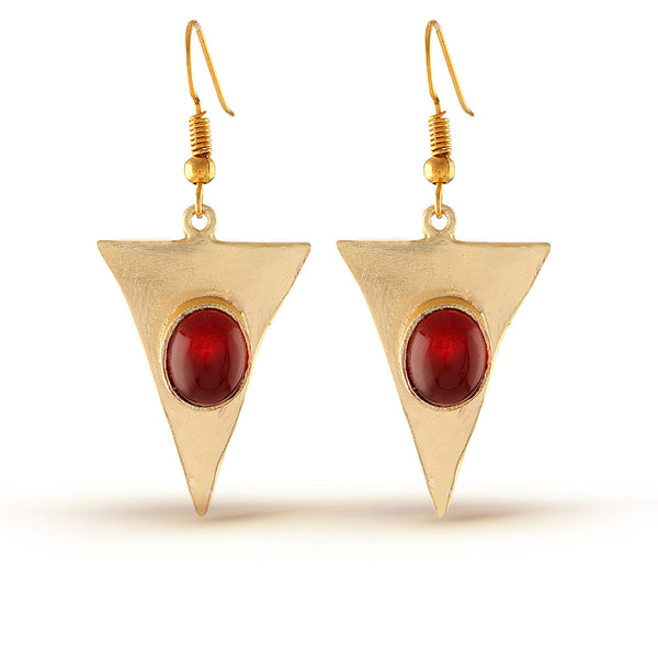 Cherry Red Gold Drop Earrings