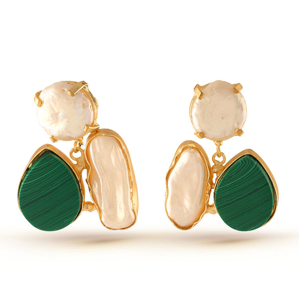 Hunter Green Gemstone and White Baroque pearl Earrings