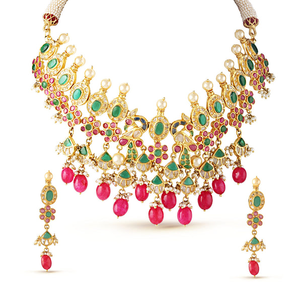 Royal Ruby Pink and Emerald Green Drop Choker Necklace Set