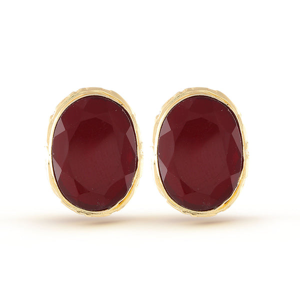 Garnet Red Gold Gemstone stud Earring