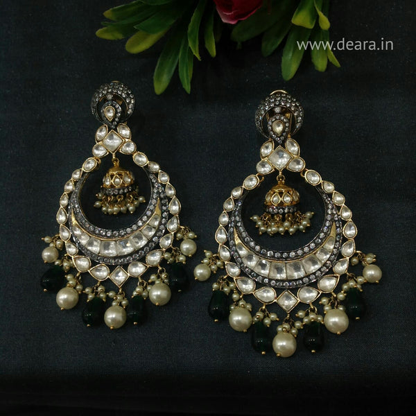 Lustrous Kundan & Pearls Green Chandbali Long Earrings
