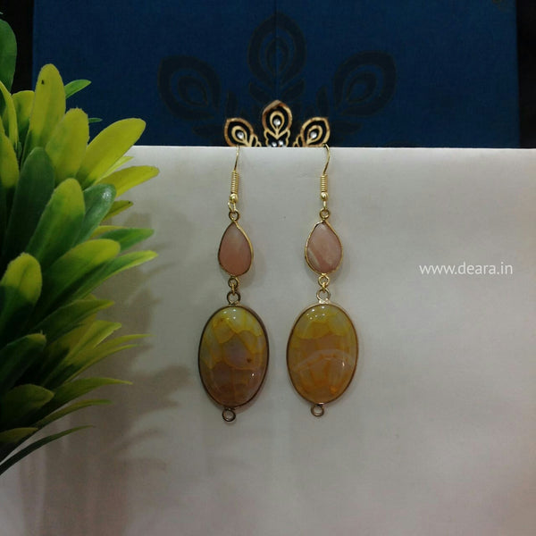 Caramel Rose Long Earrings