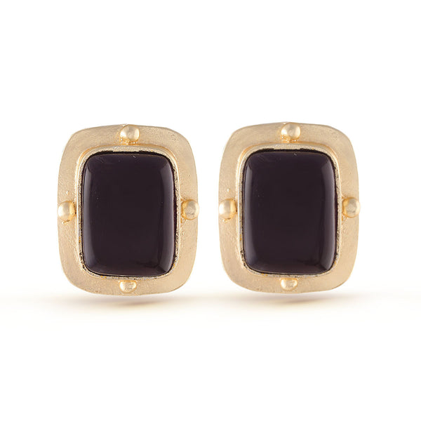 Eggplant Purple Gold Gemstone Stud Earrings