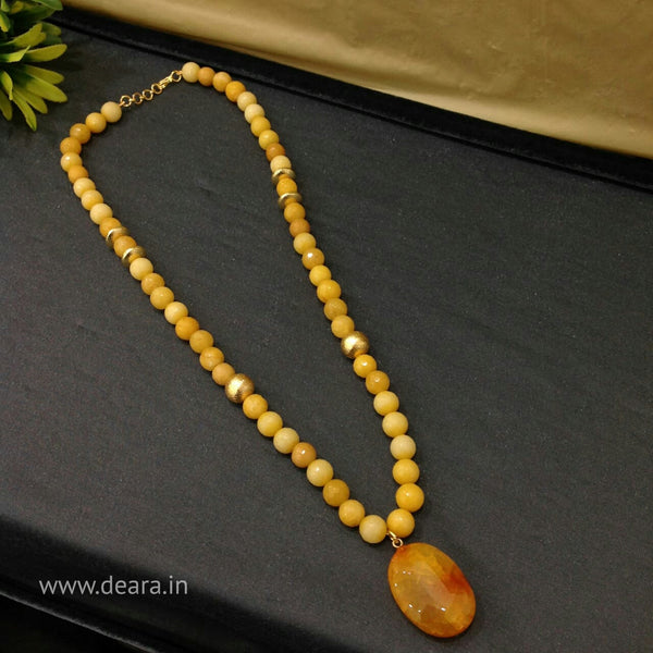 Shades of Yellow Gemstones with Golden Beads Necklace