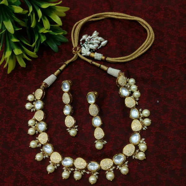 Golden Antic Pearl Choker Necklace Set