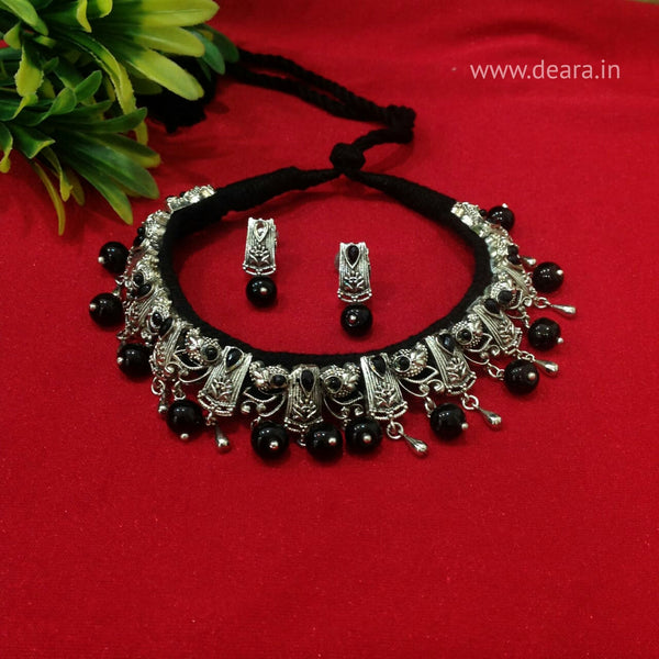 Beauticious Black Gemstones With Silver Beads Choker Necklace Set