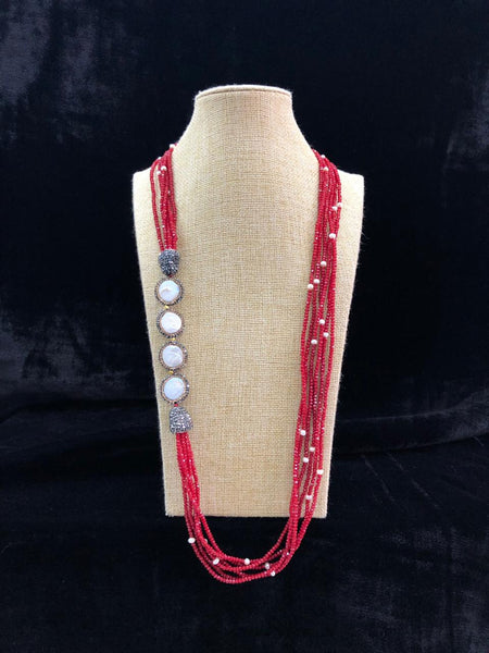 Multi-stranded Red Beaded & Pearls Necklace