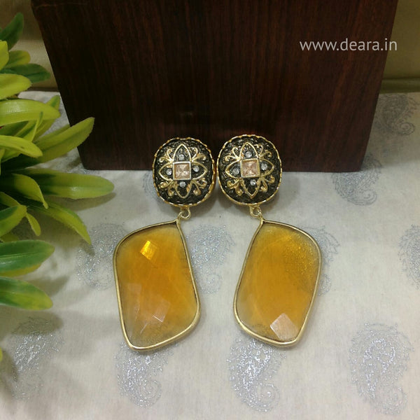 Gleaming Black and Fire Yellow Gemstone Studded Long Dangle Earrings