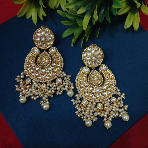 Golden Kundan Shell Pearl Chandbali Long Earrings
