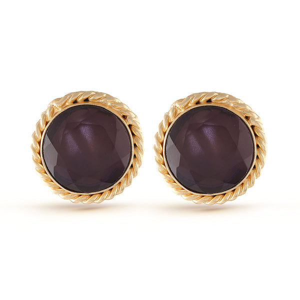 Violet Gold Amethyst Gemstone Stud Earrings