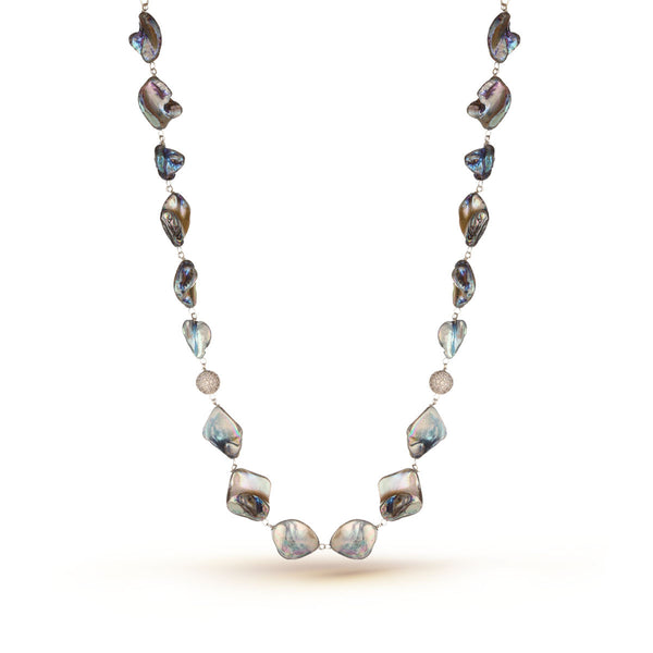 Shades of Grey and Black Mother of Pearl Necklace