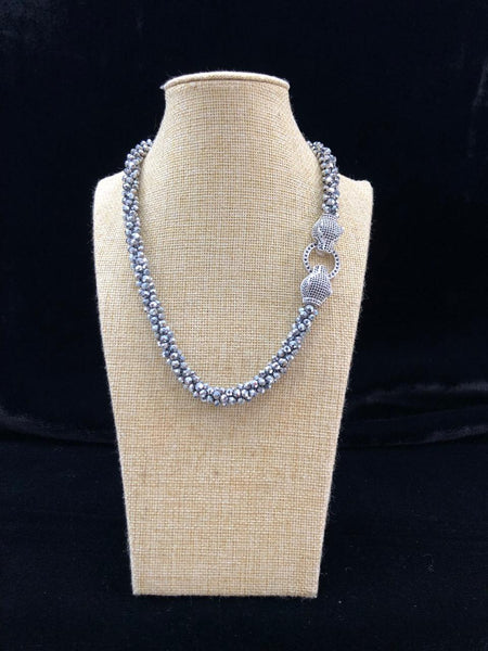 Silvery Grey Crystal with Side Pendant Necklace