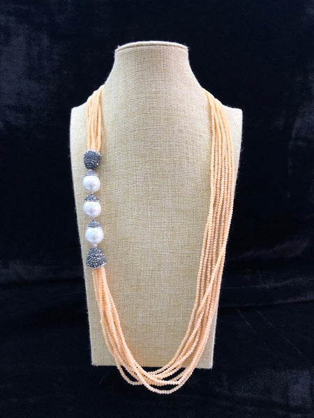 Peach Paradise & Pearls Necklace