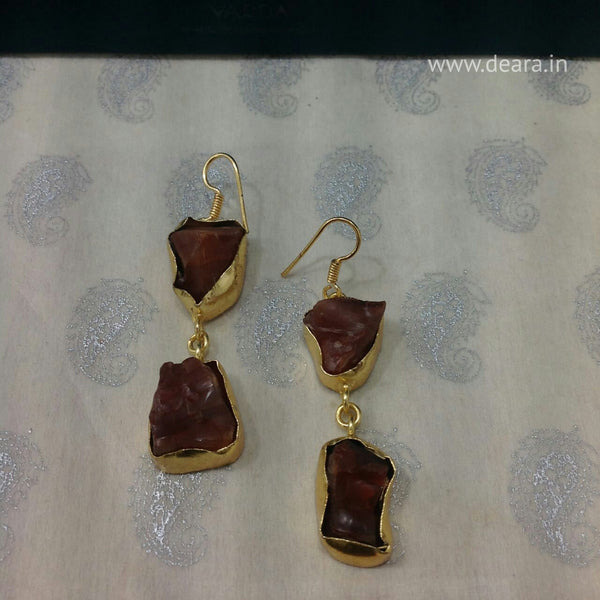 Brown and gold semi-precious Long Earrings