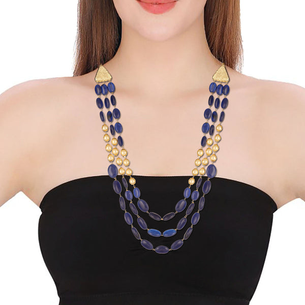 Blue Gemstone Golden Pearls Multi-strand Necklace