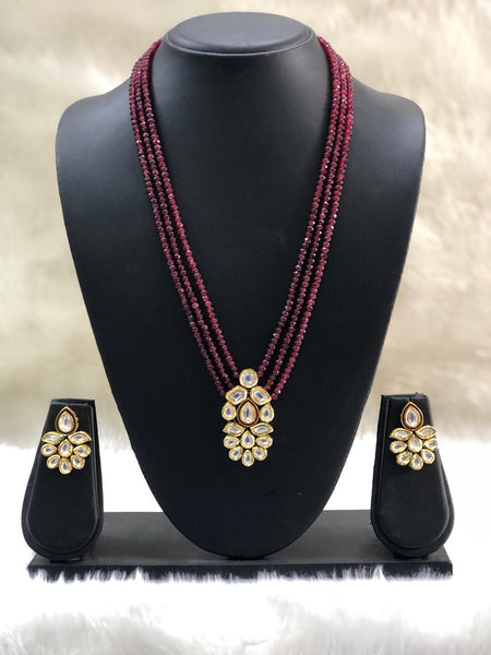 Classy Ruby Red Gemstone Kundan Necklace Set