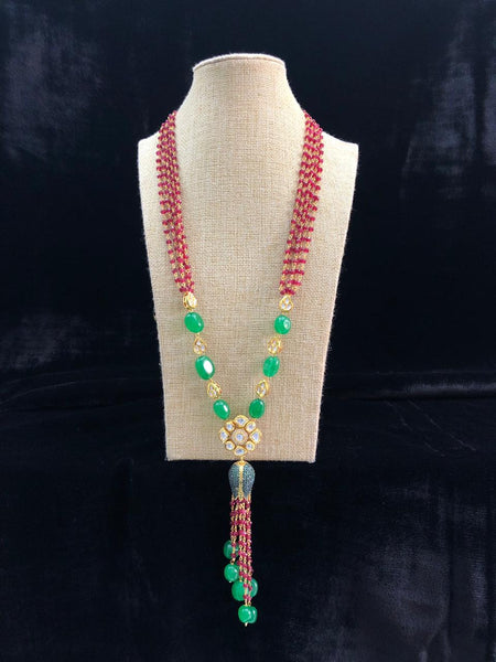 Radiant Red and Green Gemstones with Kundan Crystal Tassel Necklace