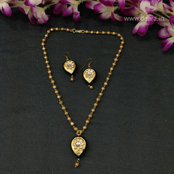 Golden Beads Chain With Teardrop Pendant Necklace Set