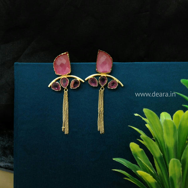 Pink Dressy Gemstone Long Earrings