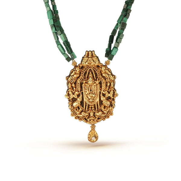 Malachite Green Gemstone Beads and Gold Balaji Pendant Necklace