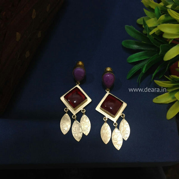 Indigo and Red shaded Leaf Dangler Earrings