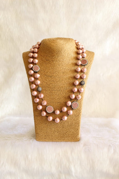 Desirable Light Coral Pink Pearls Necklace