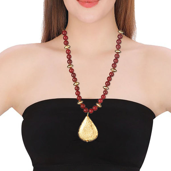 Garnet Red Gemstone Beaded Gold Leaf Pendant Necklace