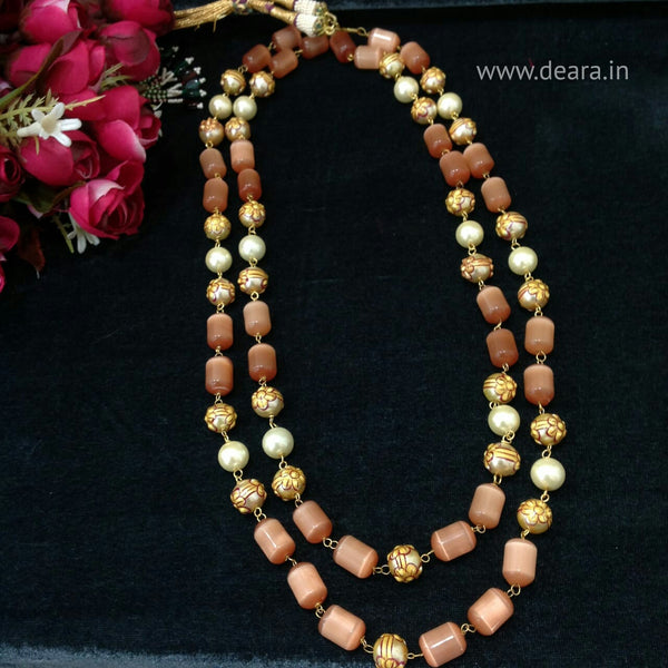 Precious Peach Glass Beads and Shell Pearl Necklace
