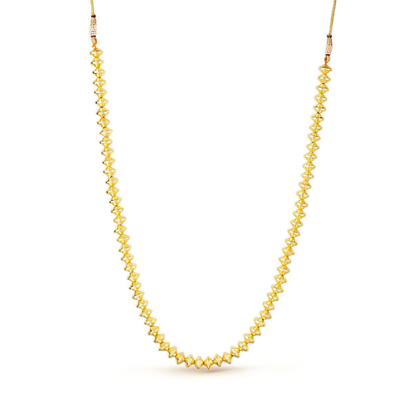 Golden Rounded Biconed Beaded Necklace