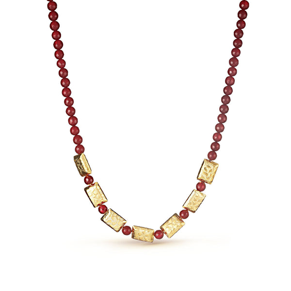 Maroon and Pedestal Square Gold Beaded Necklace