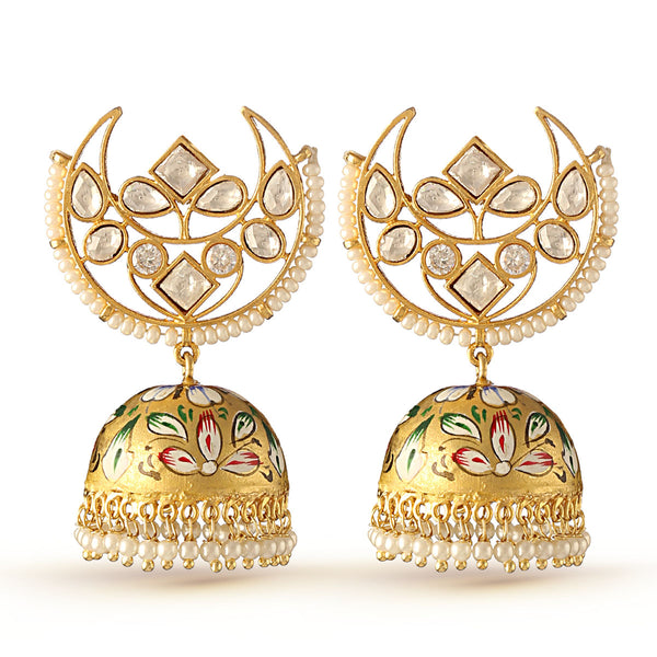Kundan and Pearl Chandbaali Jhumka Earrings