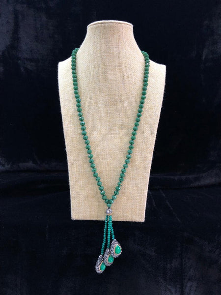 Forest Green Beaded Tassel Necklace