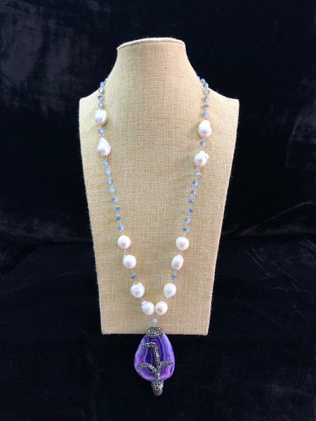 Magnificent Baroque Pearls Orchid Pendant Necklace
