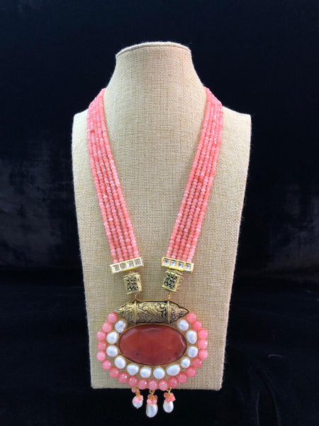 Rouge Pink Handcarved Design with Pearl Necklace