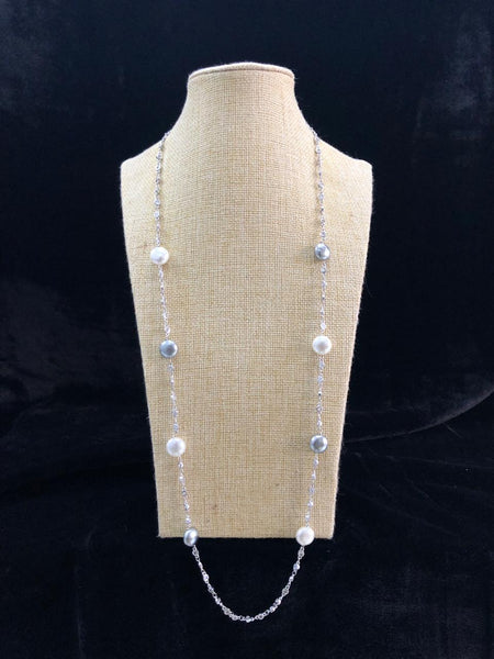 White and Silver Pearls in Chain Necklace